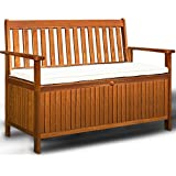 Wooden Garden Bench 2 Seater With Storage Chest Made of Hardwood Water Repellent Cushion