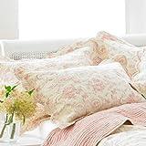 Paoletti Etoille Toile De Jouy Cotton Pillow Sham CreamPink 50 x 75 Cm