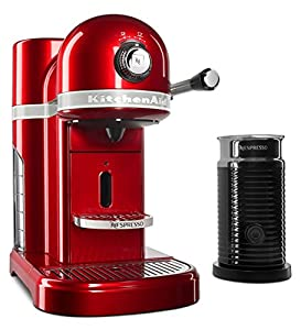 KitchenAid Nespresso Candy Apple Red Manual Espresso Maker with Aeroccino Milk Frother from KitchenAid
