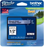 """Brother P-touch ~1/2"""" (0.47"""") Black on Clear Standard Laminated Tape - 26.2 ft. (8m)"""