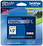 Brother TZe131 Black on Clear 1/2-Inch Labeling Tape (26.2 Feet) - Retail Packaging
