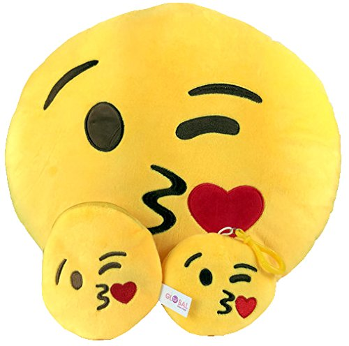 Emoji Cuscino Free portachiavi catena e morbido denaro Portafoglio Portamonete Smiley Fake Poop Throw cuscino emoticon Cute a forma di peluche Love Giallo Rotondo Marrone Set Regalo Grande giocattolo divertente Merchandise - Accessori tutto per bambini prime (Poop) New Kisses