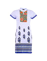 Karni Women's Cotton White & Blue Kurti