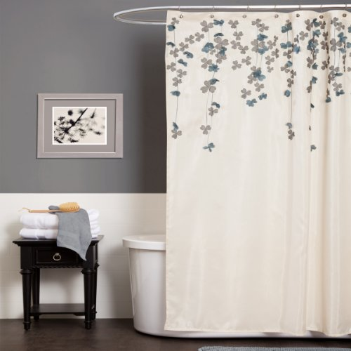 Lush Decor Flower Drop Shower Curtain, 72-Inch by 72-Inch, Ivory/Blue