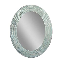 Deco Mirror 29 in. L x 23 in. W Reeded Sea Glass Oval Wall Mirror