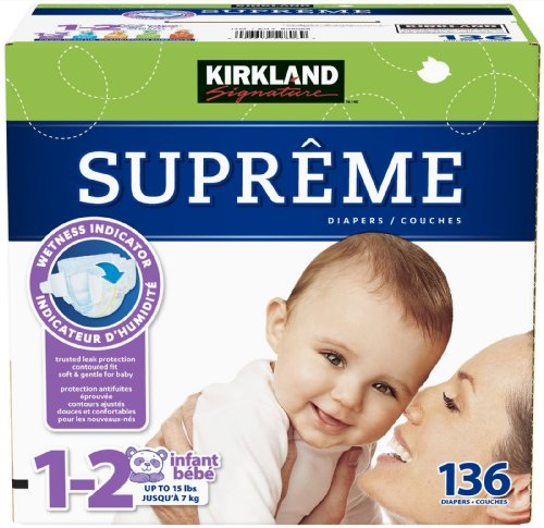 Kirkland Signature Disposable Supreme Diapers Size 1-2 136 Ct - 1
