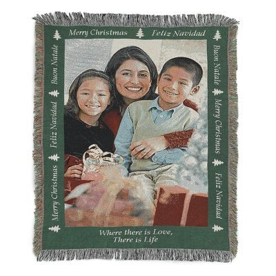 Merry Christmas Portrait Photo Art Throw With Custom Embroidery front-792703