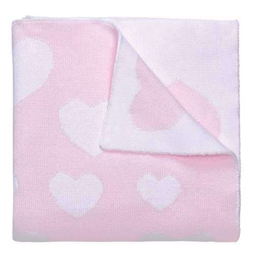 Elegant Baby, 100% Cotton, Tightly Knit Heart Blanket, 30 x 40 Inch in Pastel Pink and White