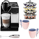 DeLonghi Lattissima EN520 with Nespresso Capsule System in Black Bundle with Two Mugs+ Knox Milk Frother and 40 Capsule Carousel