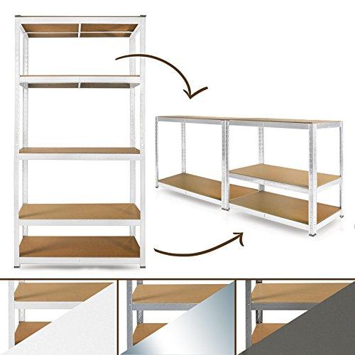 Schwerlastregal-System-Farbe-whlbar-Steckregal-auch-als-Werkbank-aufstellbar-ideales-Werkstattregal-Kellerregal-180x90x40cm-wei