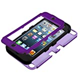 MINITURTLE Premium Sleek Dual Layer 2 in 1 Hybrid Protective TUFF Case Cover Two Mini Stylus Pen and Screen Protector Film for Apple iPod Touch 5 5th Generation (Purple / Black)