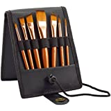 Paint Brush Set - 7 Travel Brushes for Acrylic, Oil, Watercolor, Gouache and Plein Air Painting - Ultra Short Handle - Professional Artist Carry Case - 1 Year Warranty - Art Supplies by MyArtscape™