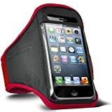 Fone-Case Sony Xperia J Adjustable Sports Fitness Jogging Arm Band Case (Red)