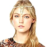 Atdoshop Fashion Women Metal Chain Jewelry Headband Head Hair Band Tassels Pearl