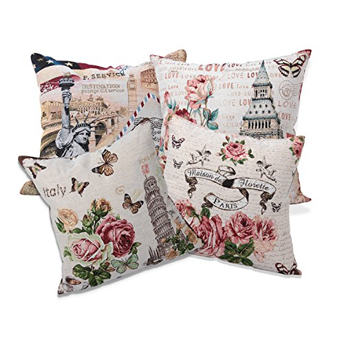 Queenie® - 1 Pc of Cushion Cover Decorative Throw Pillow Case Tapestry Polyester Pillowcase 18 X 18 Inch 45 X 45 Cm (Bundle set of 4)