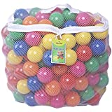 Click n' Play Pack of 200 2.5 Inches Phthalate Free PBA Free Crush Proof Plastic Ball Pit Balls - 6 Bright Colors in Reusable and Durable Storage Mesh Bag with Zipper