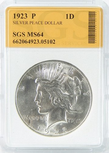 1923-P MS64 Silver Peace Dollar Graded by SGS