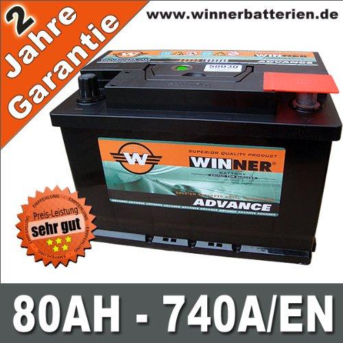 Autobatterie 80Ah 740A +30% mehr Startkraft ersetzt