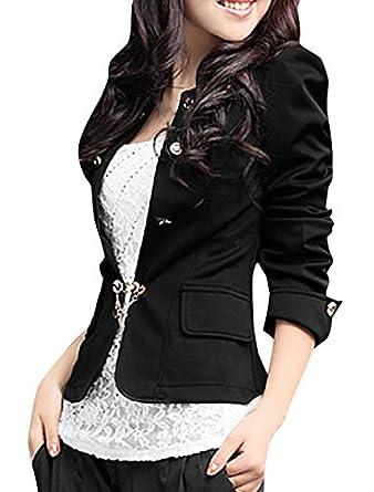 Allegra K Women Puff Sleeve Jacket Bow Pleated Back Slim OL Casual Peplum Blazer