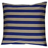 Home Kouture Polyester Single Stripetease Cushion Cover; Gold And Dark Blue, 40.64 X 40.64 CM