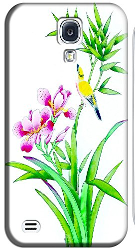 Phone Cases Design With Traditional Chinese Painting Flowers Brids Beautiful Pattern For Samsung Galaxy S4 I9500 No.13 front-47966
