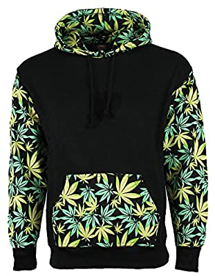 Green Leaf Weed Print Marijuana Cannabis Hooded Sweatshirt Hoodie