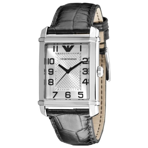 Emporio Armani Classic Collection Men's Quartz Watch with Silver Dial Analogue Display and Black Leather Strap AR0486