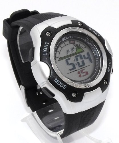 Mens Digital LCD Chronograph Sports Watch - Gift Boxed - Multi Functional- 15-22cm Strap - 3ATM (e)