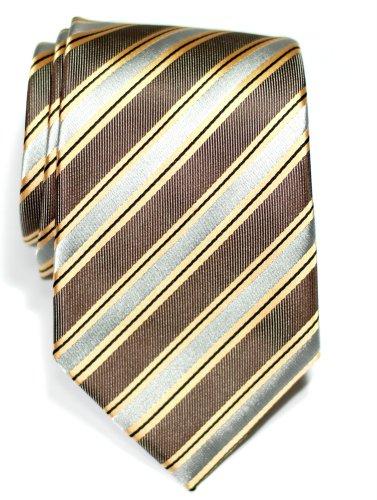 Premium Preppy Stripe Pattern Woven Microfiber Men's Tie - Brown and Grey