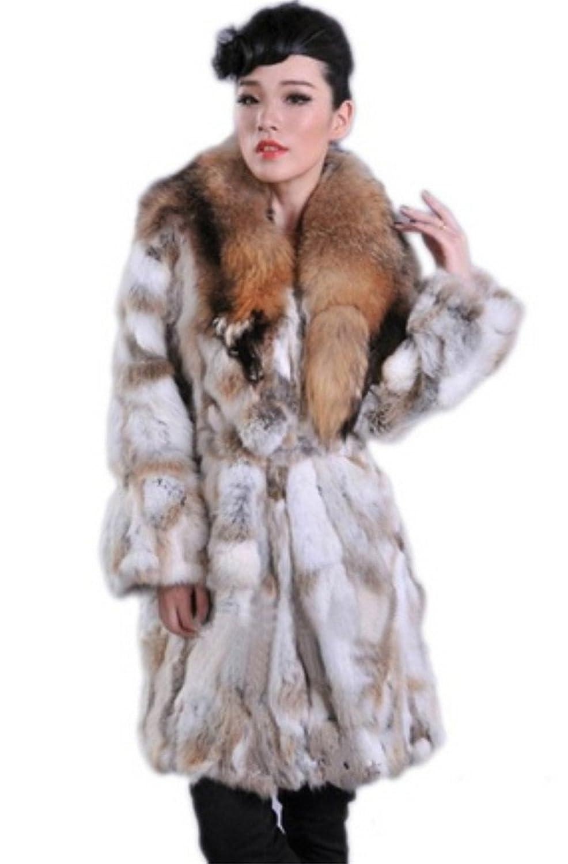 YR Lover Echter Lange Kanichen Pelz Mantel&Waschbär Pelz Kragen jetzt bestellen