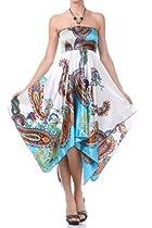 FO82B5331 - Paisley Design Satin Feel Beaded Halter Smocked Bodice Handkerchief Hem Dress - Blue/Medium