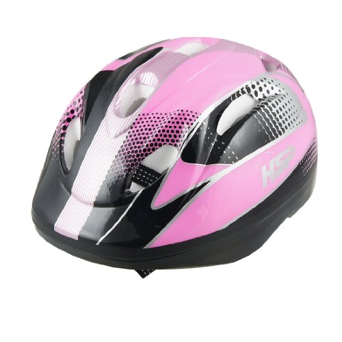 Como Children Adjustable Strap Pink Black Striped Bicycle Cycling Helmet