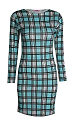 Womens Long Sleeves Dog Tooth Check Print Stretchy Bodycon Dress