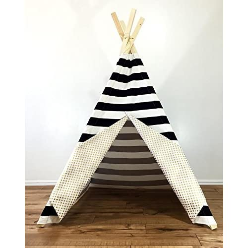 Black and white teepee with metallic gold polka dots