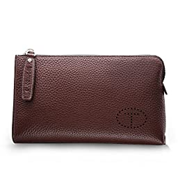 Teemzone Genuine Top Leather Business Credit Crard Cash Holder Wrist Clutch Bag Handbag