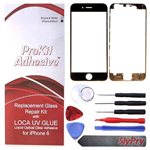 Prokit Adhesive Tm Iphone 6 Glass Lens Lcd Repair Kit With Loca Uv Glue Replacement For Apple Iphone 6 (Black)