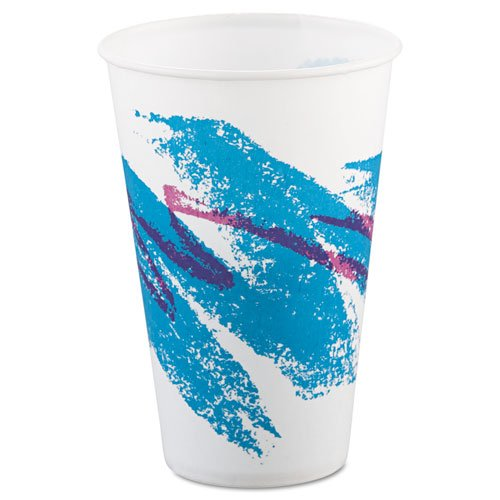 SOLO Cup Company Jazz Waxed Paper Cold Cups, 12 oz, Tide Design - Includes 20 packs of 100 each.