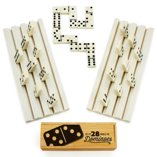 Brybelly Domino Party Set, Includes 28 Double Six Dominoes in Wooden Storage Box and 2 Domino Trays
