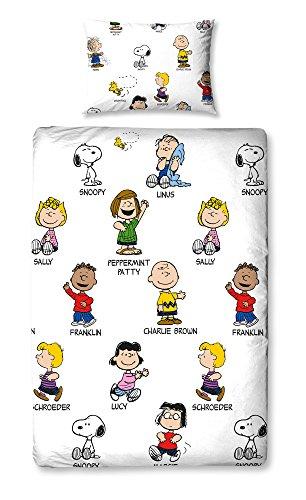 """Character World - Set con copripiumino per letto singolo, motivo """"Peanuts Snoopy"""", multicolore"""