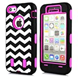 KINGCOOL 3in1 New Chevron Wave Design Armored Hybrid PC & Silicone Case Combo for Apple iPhone 5C (Hot Pink)