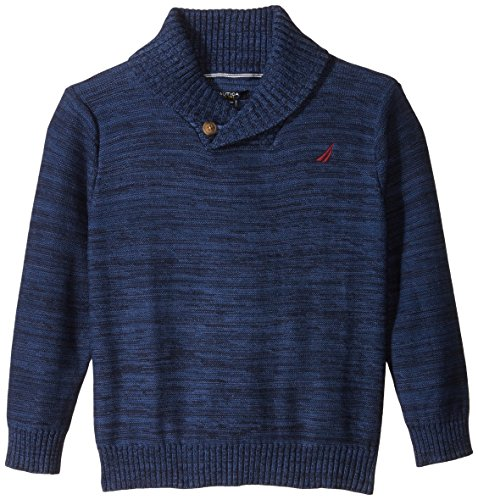 Nautica Big Boys' Button Shawl Collar Sweater with Marl, Sport Navy, Large