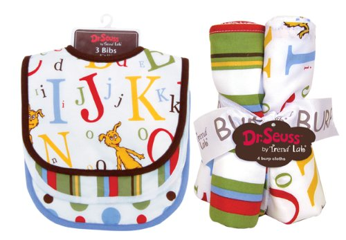 Trend Lab Baby Gift Dr. Seuss Abc Bib And Burp Cloth Bouquet Set front-382932