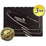 Credit Card Knife (3 pack) from SurvivalParadise this Folding Survival Tool will fit easily in your wallet and be easy to carry has a Safety Lock to prevent accidental opening and a Beautiful Black Blade Always have it with you buy a 3 Pack and save!
