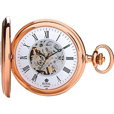 Royal London Pocket Watch 90047-03 Rose Gold Plated Half Hunter