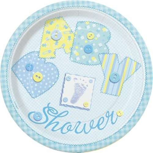 "Unique Babyparty-Pappteller ""Baby Shower"", blau, d=18cm, 8er-Pack f. Baby Willkommensparty"