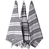 Now Designs Jumbo Pure Kitchen Towel, Black, Set of 3