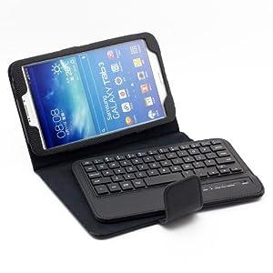 SUPERNIGHT® For Samsung Galaxy Tab 3 8.0 Bluetooth Keyboard Portfolio Leather Case - Detachable Wireless Bluetooth Keyboard Stand Case / Cover for Samsung Galaxy Tab 3 8 8.0 8'' inch T310 T311 Tablet -Black