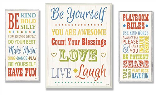 The Kids Room by Stupell Be Yourself; Be Kind; Playroom Rules 3-pcs. Multi-Size Wall Plaque Set