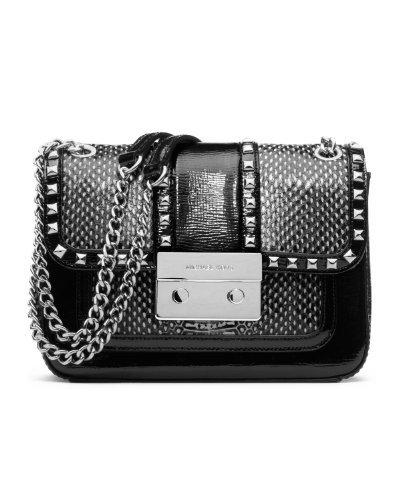 MICHAEL Michael KorsMichael Kors Sloan Stud SM Shoulder Flap Black/White Handbag