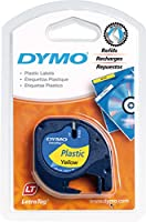 Dymo LetraTag Labelling Tape 12mm x 4m Plastic - Black on Yellow